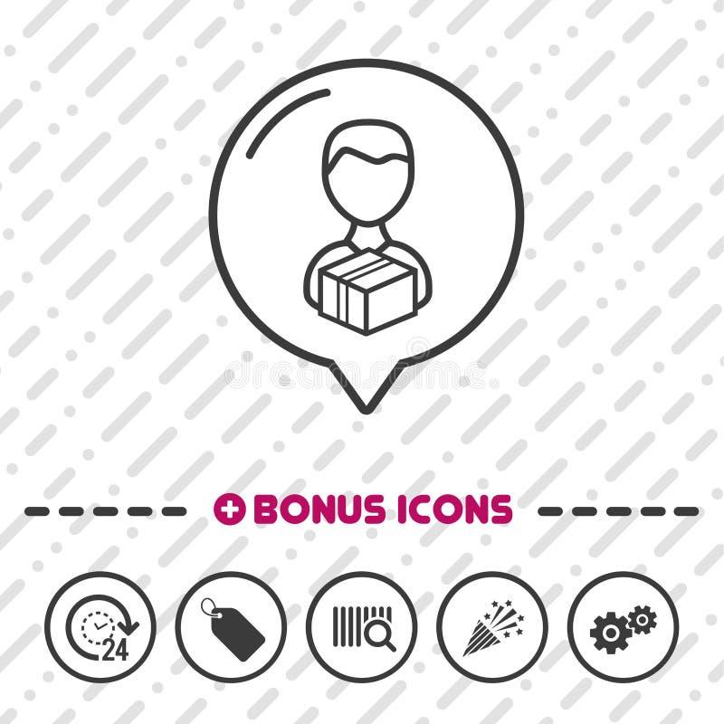 Doręczeniowego mężczyzna ikony cienkie kreskowe Premiowe ikony Eps10 Wektor ilustracji