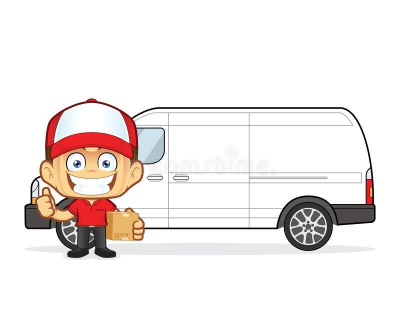 Doręczeniowego mężczyzna kurier w frontowym samochodzie dostawczym z kartonami ilustracja wektor