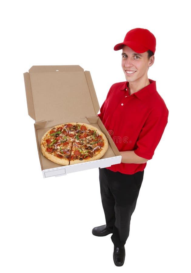 doręczeniowego mężczyzna pizza fotografia royalty free