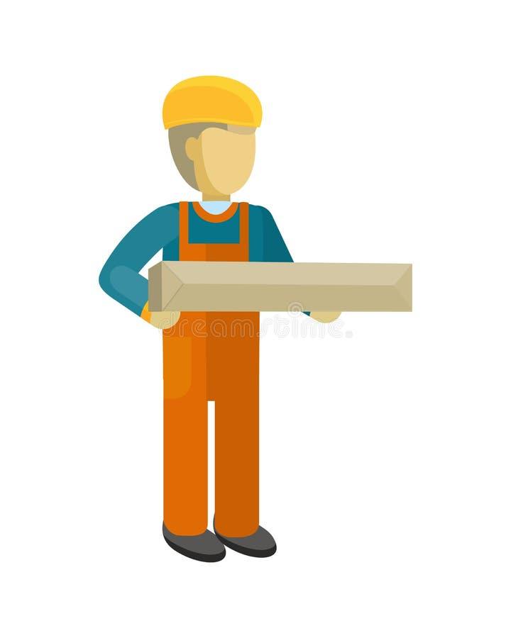 Doręczeniowego mężczyzna pracownika chwytów pakunek w jego ręki royalty ilustracja