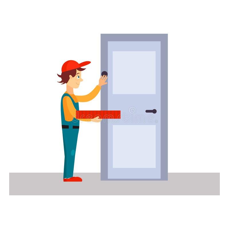 Doręczeniowego mężczyzna pukanie przy drzwi, Wektorowa ilustracja royalty ilustracja