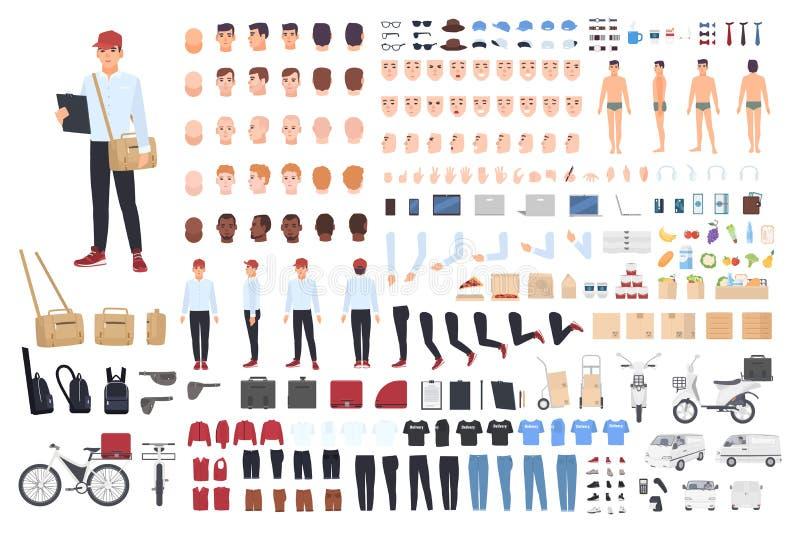 Doręczeniowego mężczyzna tworzenia set lub budynku zestaw Plik postać z kreskówki s części ciała w różnych posturach, szczegóły ilustracja wektor