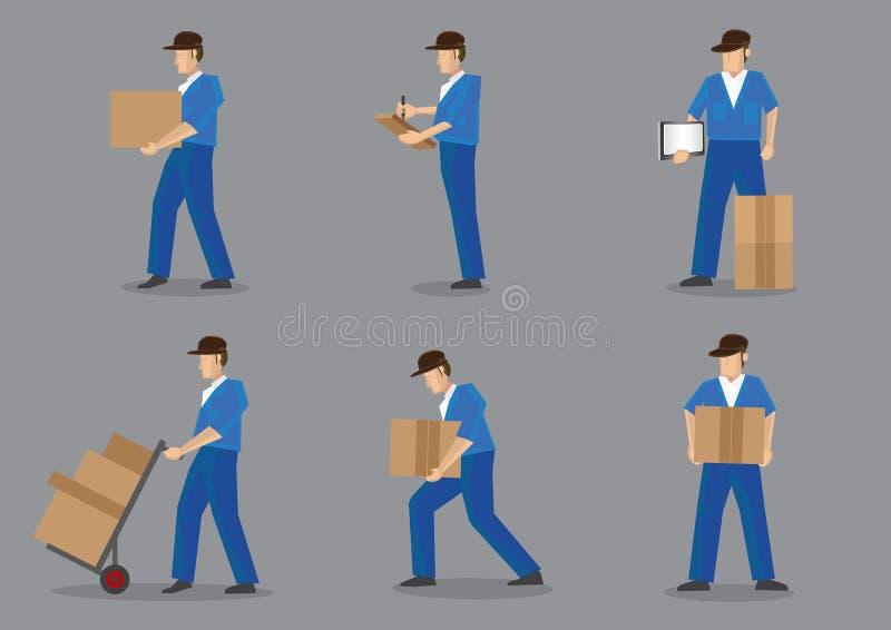 Doręczeniowego mężczyzna Wektorowy charakter - set ilustracji