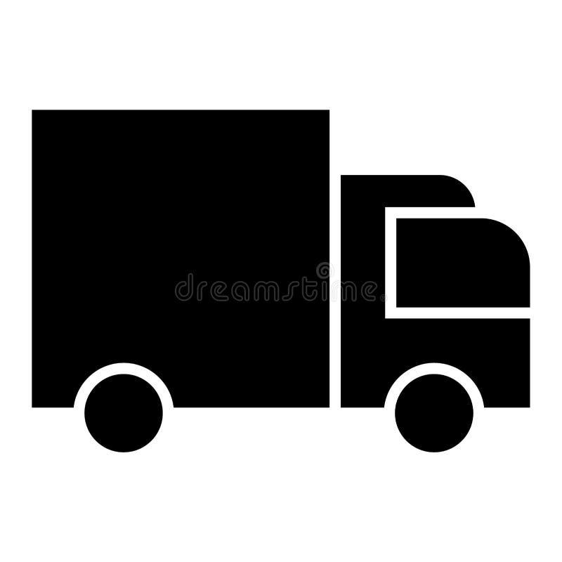 Doręczeniowego samochodu dostawczego ikony czerń ilustracja wektor