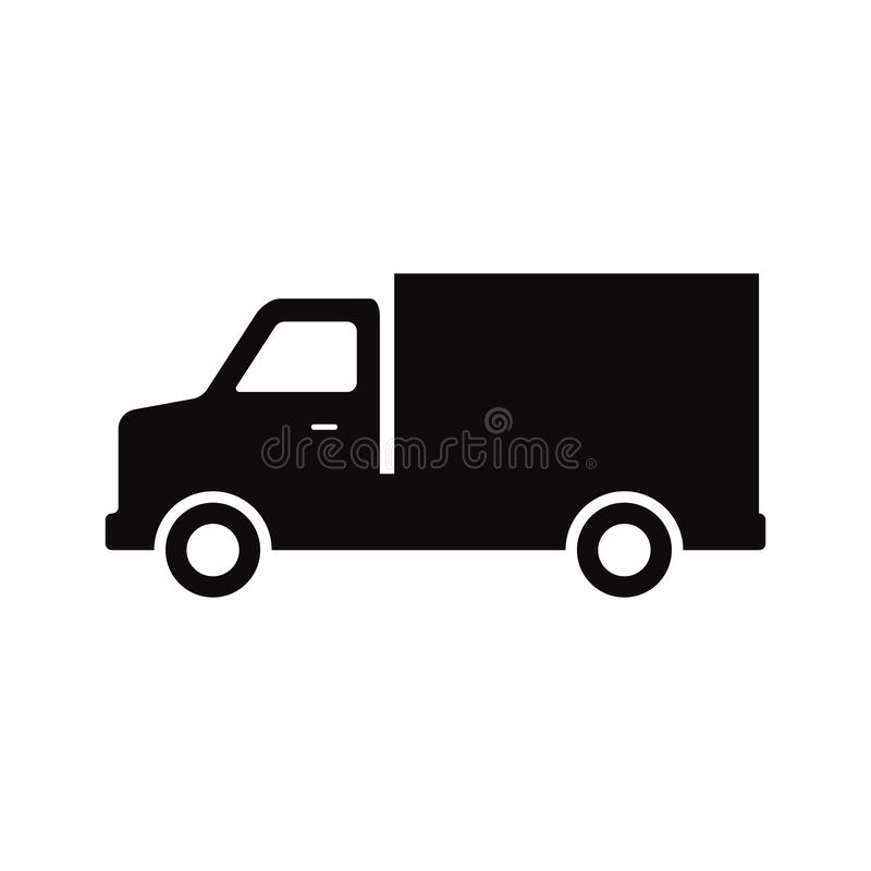 Doręczeniowego samochodu usługa Post i ekspresowy doręczeniowy samochód podpisujemy dla strona internetowa wektoru eps10 Czarna i ilustracji