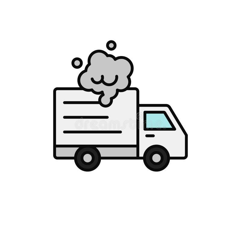 Doręczeniowej ciężarówki dymu ikona transportu samochód łamał puszek ilustrację prostego konturu symbolu wektorowy projekt ilustracja wektor