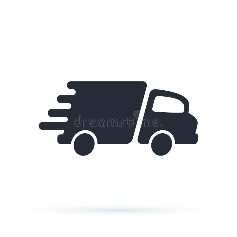 Doręczeniowej ciężarówki ikony projekta logo Wektorowy szablon royalty ilustracja