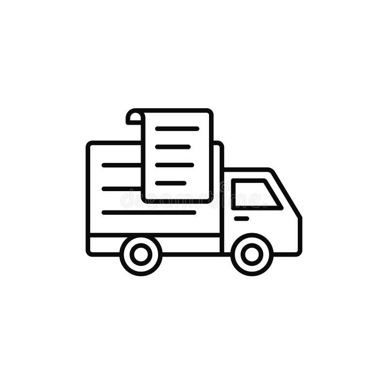 Doręczeniowej ciężarówki papieru listy ikona transportu raportu dokumentu ilustracja prostego konturu symbolu wektorowy projekt ilustracja wektor
