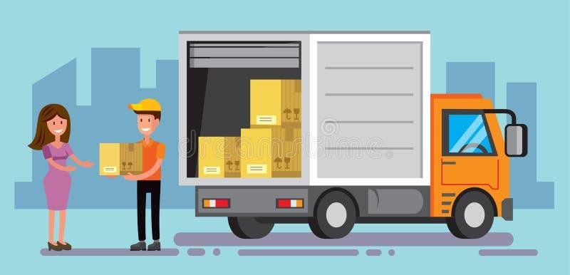 doręczeniowej ciężarówki wektor ilustracja wektor