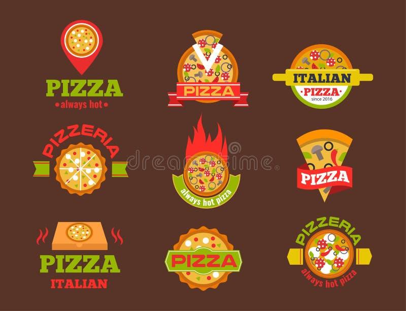 Doręczeniowej pizzy loga odznaki pizzeria restauraci usługa fasta food wektorowa ilustracja ilustracja wektor