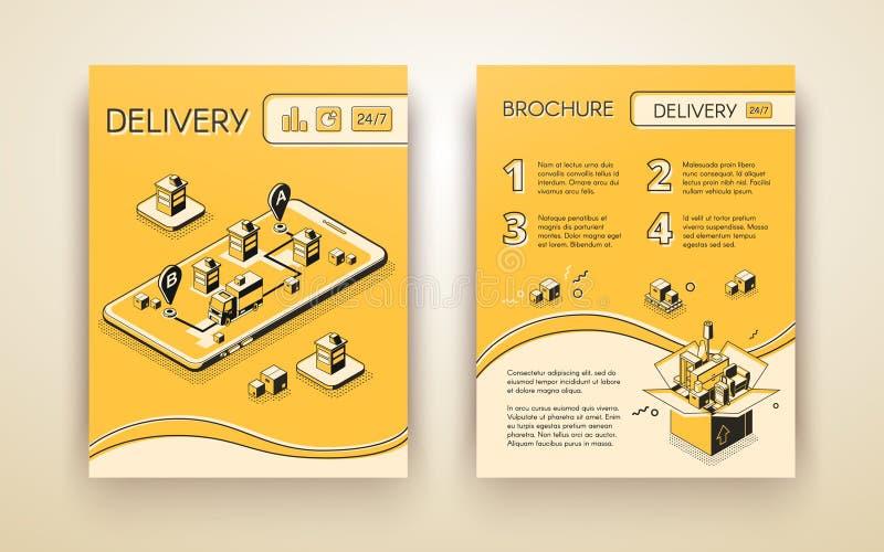 Doręczeniowej usługa broszury isometric wektorowy szablon royalty ilustracja