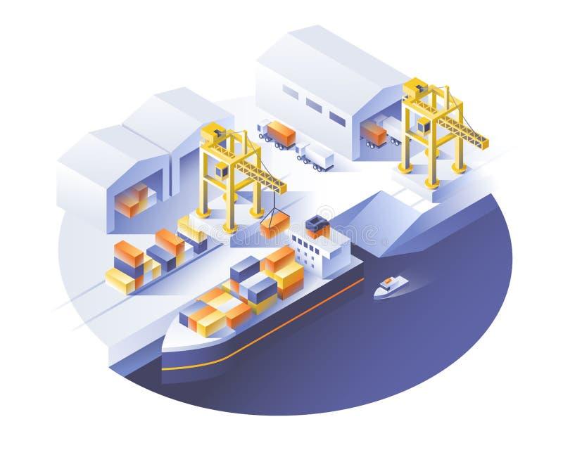 Doręczeniowej usługa pojęcie Zbiornika ładunku statku ładowanie, ciężarowy ładowacz ilustracja wektor