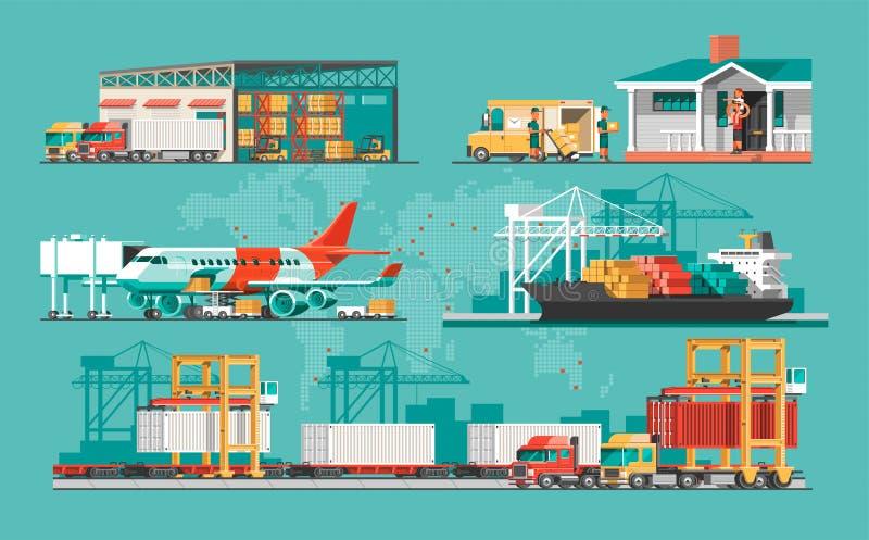 Doręczeniowej usługa pojęcie Zbiornika ładunku statku ładowanie, ciężarowy ładowacz, magazyn, samolot, pociąg royalty ilustracja