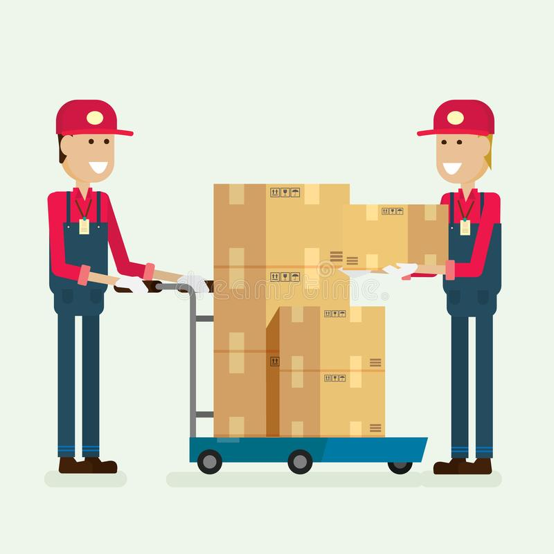 Doręczeniowej usługa pracownika ładunku pudełko w magazynie ilustracyjny vec ilustracja wektor