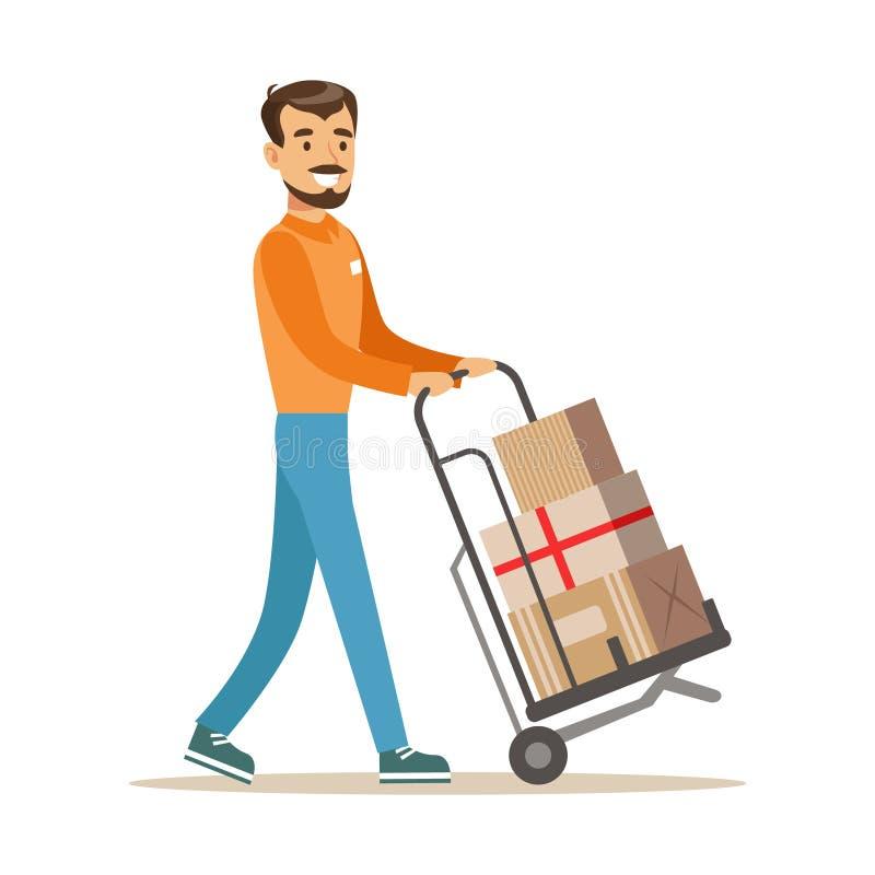 Doręczeniowej usługa pracownika jeżdżenia fura Z stosem pudełka, Uśmiechnięty kurier Dostarcza pakunki Ilustracyjnych ilustracji