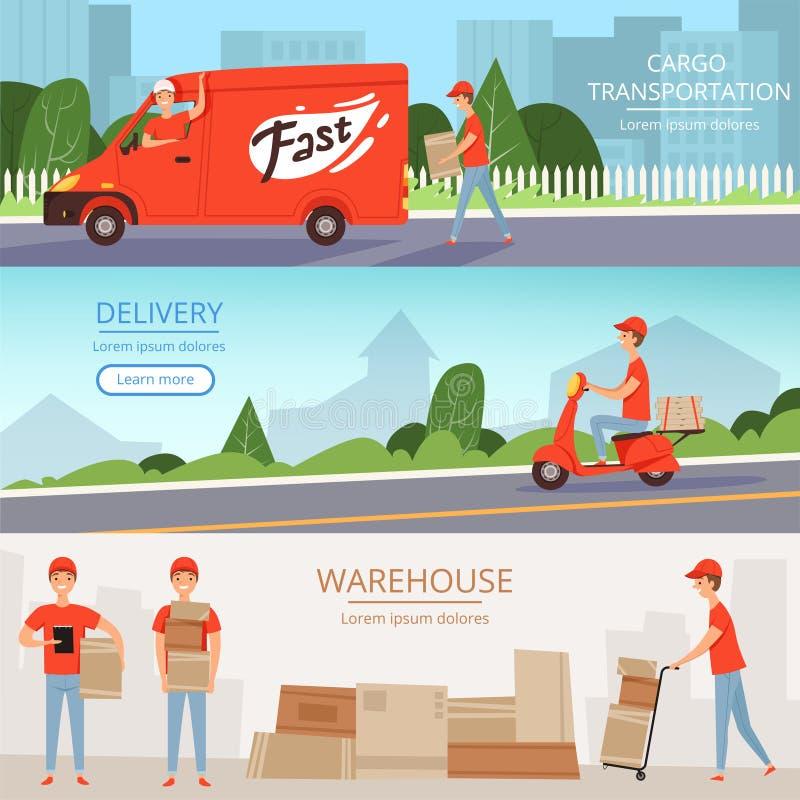 Doręczeniowej usługa sztandary Ładunków pracowników magazynowa pizza i karmowy doręczeniowy mężczyzna na przewiezionej Czerwieni  ilustracja wektor