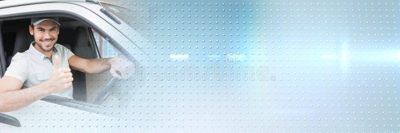 Doręczeniowy kurier w samochodzie dostawczym z przemiana skutkiem obrazy stock