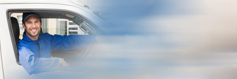Doręczeniowy kurier w samochodzie dostawczym z transition_Delivery_0002 zdjęcia royalty free