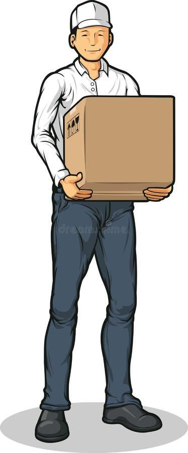 Doręczeniowy Mężczyzna Dowiezienia Kartonu Pudełko ilustracji