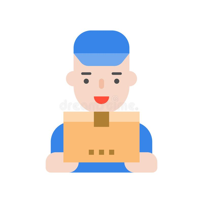 Doręczeniowy mężczyzna i pakuneczek boksujemy, Płaski ikony wysyłki dostawy logisti royalty ilustracja
