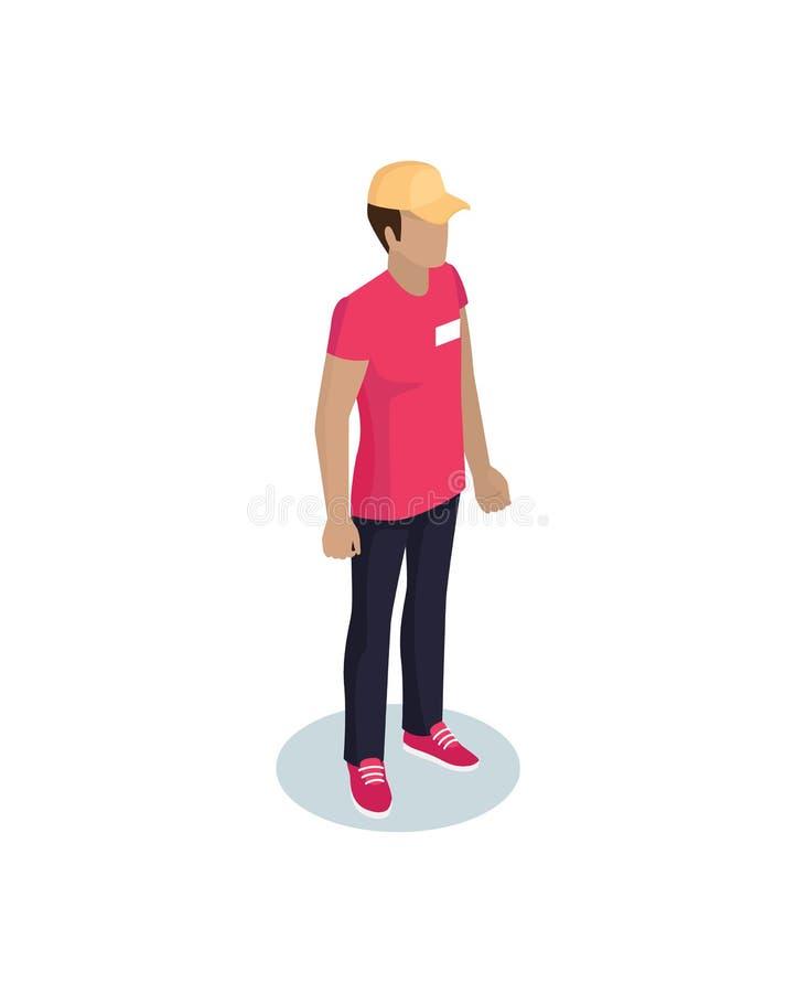 Doręczeniowy mężczyzna Jest ubranym Jednolitą Wektorową ilustrację ilustracja wektor