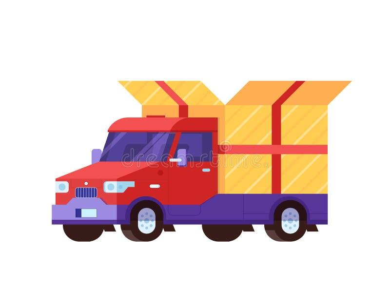 Doręczeniowy samochód z prezenta pudełka pakunkiem royalty ilustracja