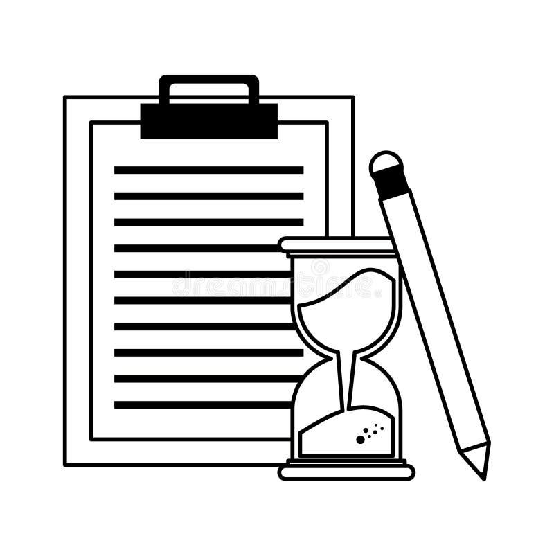 Doręczeniowy schowek z hourglass i ołówka symbolami w czarny i biały royalty ilustracja