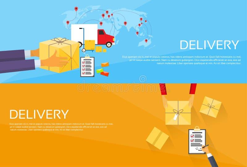 Doręczeniowy Usługowego pakunku pudełka Odbiorczy kurier ilustracja wektor