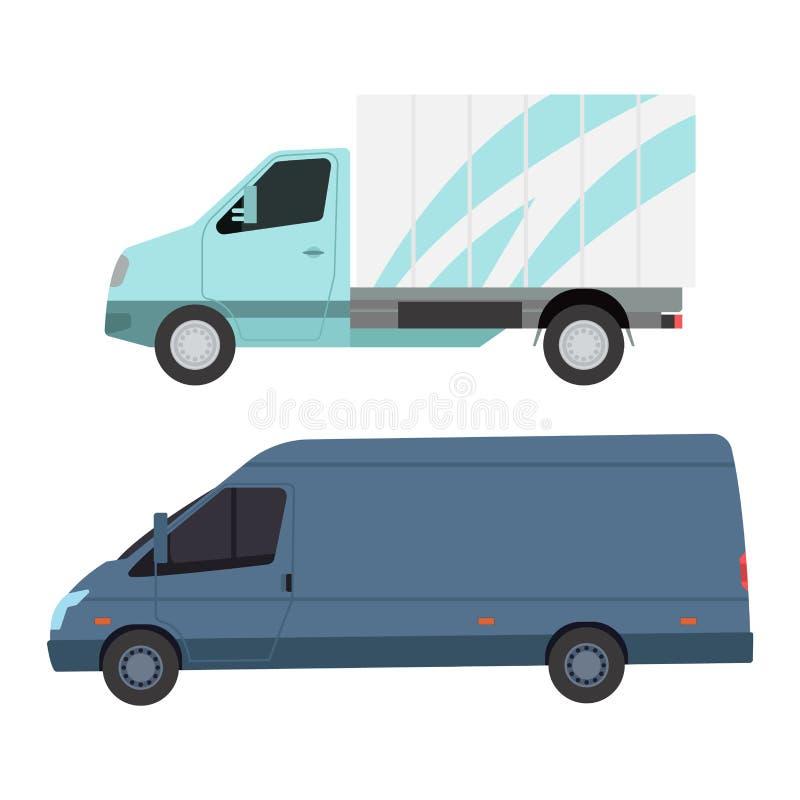 Doręczeniowy wektoru transportu ciężarówki samochód dostawczy royalty ilustracja