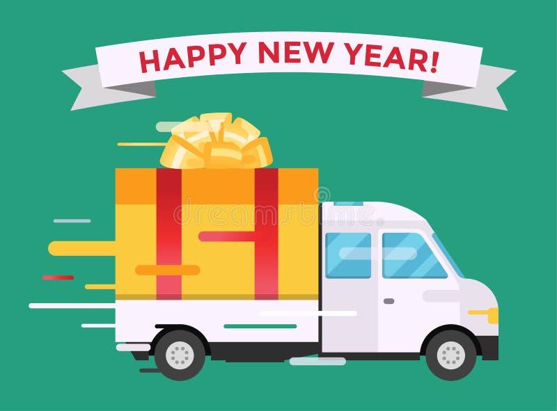 Doręczeniowy wektoru transportu ciężarówki Samochodu dostawczego Boże Narodzenie prezent ilustracji
