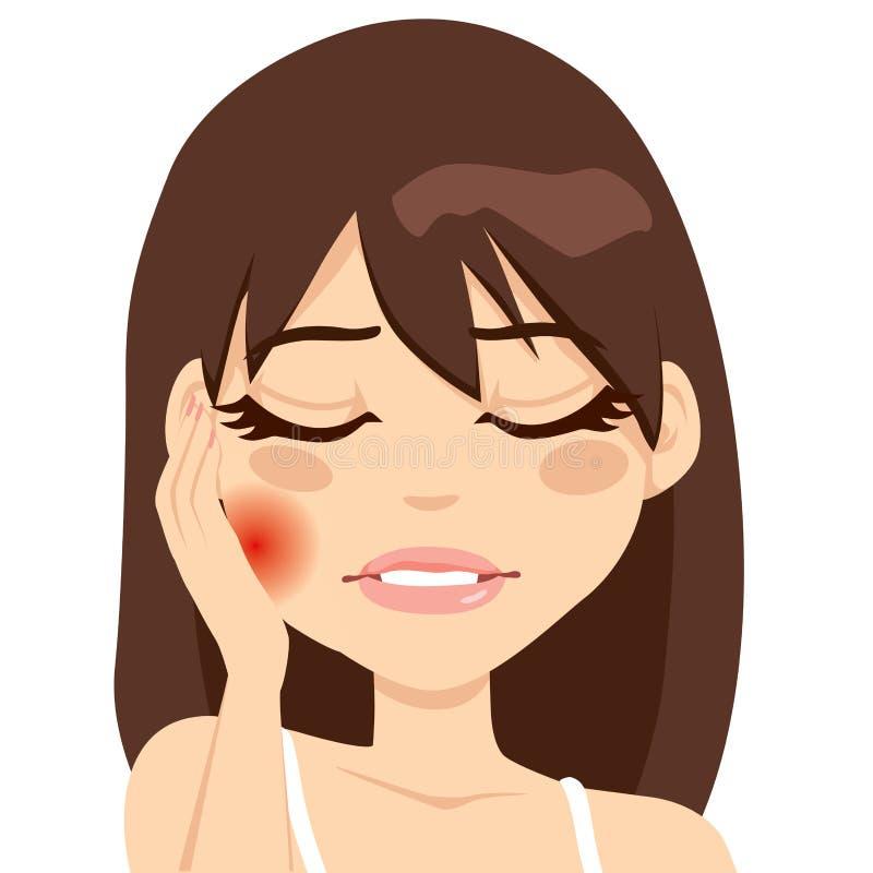 Dor da dor de dente da mulher ilustração do vetor