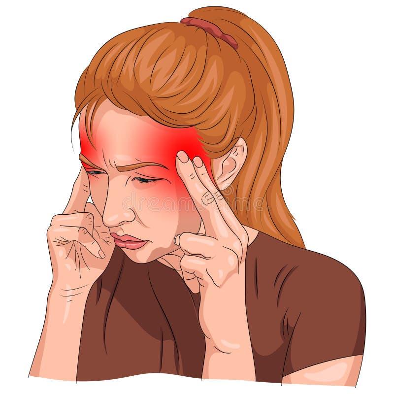 A dor de cabe?a ilustrou em um corpo da mulher com designa??o vermelha ilustração stock