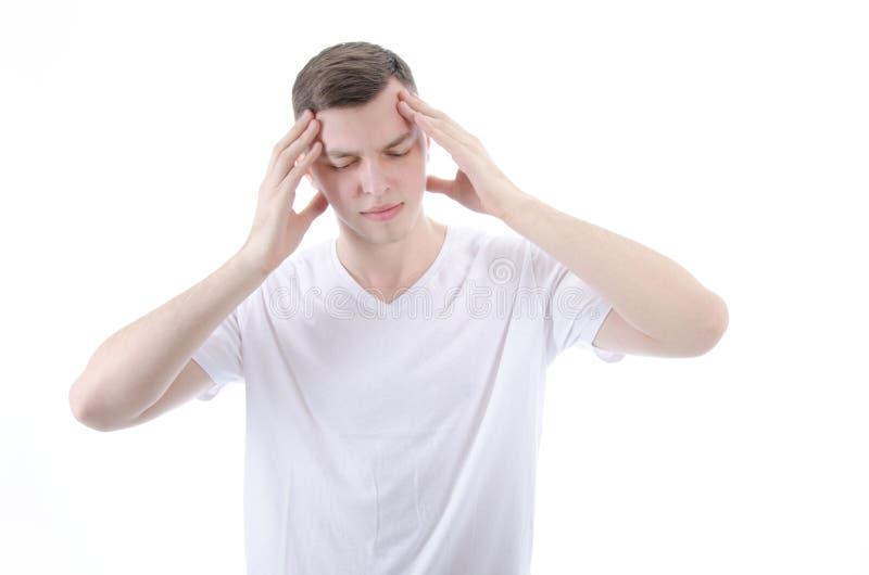 Dor de cabeça migraine Indivíduo novo imagem de stock royalty free