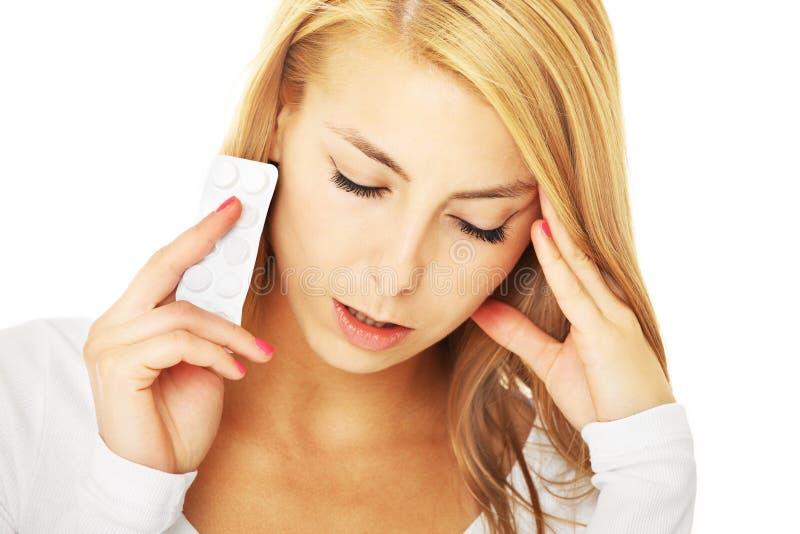 Dor de cabeça severa imagens de stock