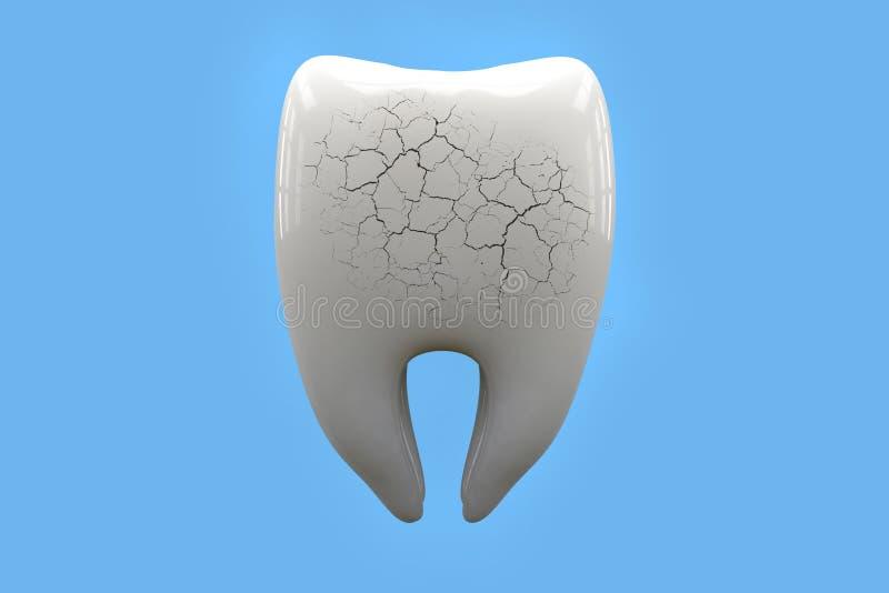 Dor de dente, conceito dos cuidados dentários Dentes insalubres, rachados e quebrados na rendição azul do fundo 3d ilustração do vetor