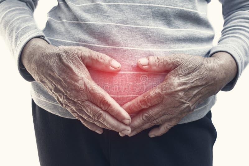 Dor de estômago da mulher adulta no fundo branco imagem de stock