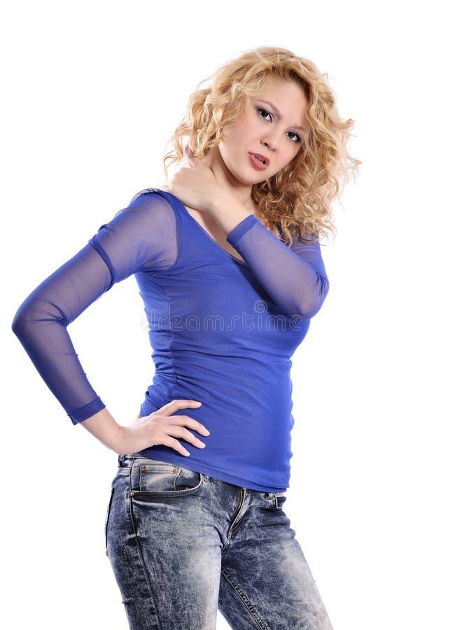 Dor de pescoço da mulher imagem de stock royalty free