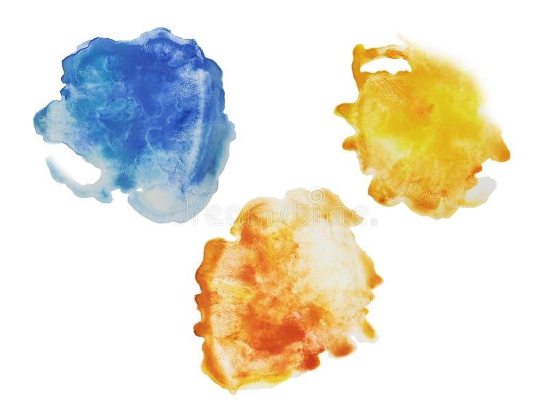 Dor de três cor, de amarelo, alaranjada e azul do respingo da aquarela da mão ilustração do vetor