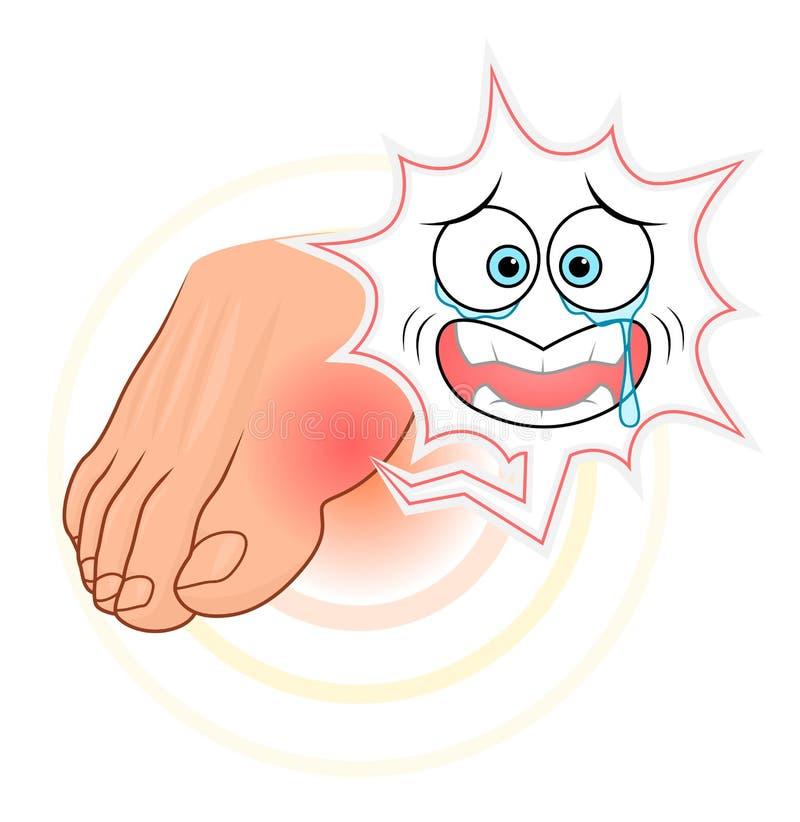 Dor do dedo grande do pé com cara ilustração do vetor