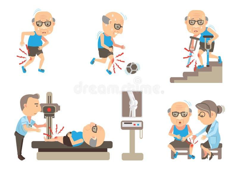 Dor do joelho ilustração stock
