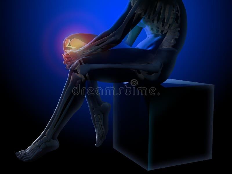 Dor do joelho Raio X do esqueleto e dos pés Corpo anatômico de um homem assentado ilustração 3D médica ilustração stock