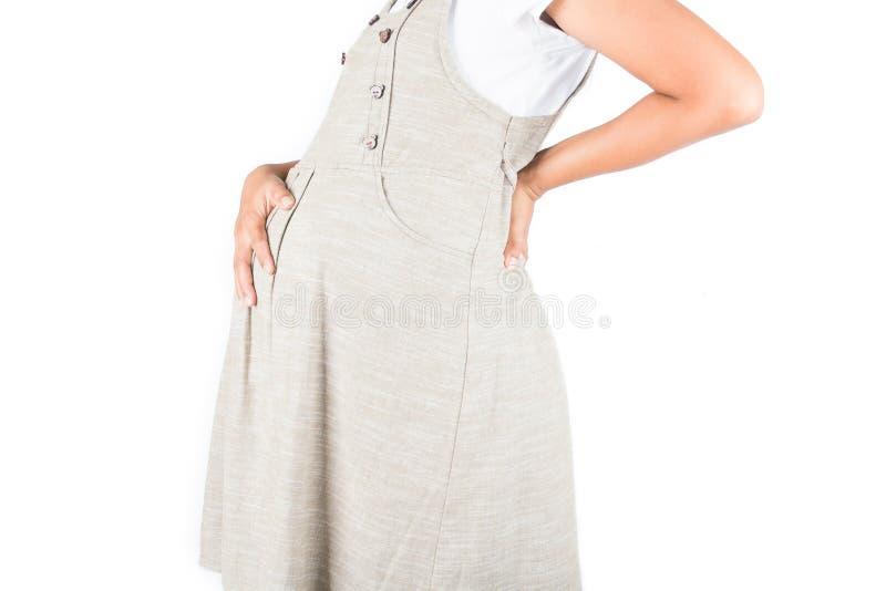 Dor do lumbar da mulher gravida imagem de stock