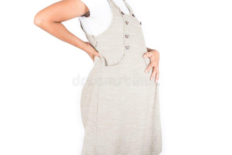 Dor do lumbar da mulher gravida foto de stock