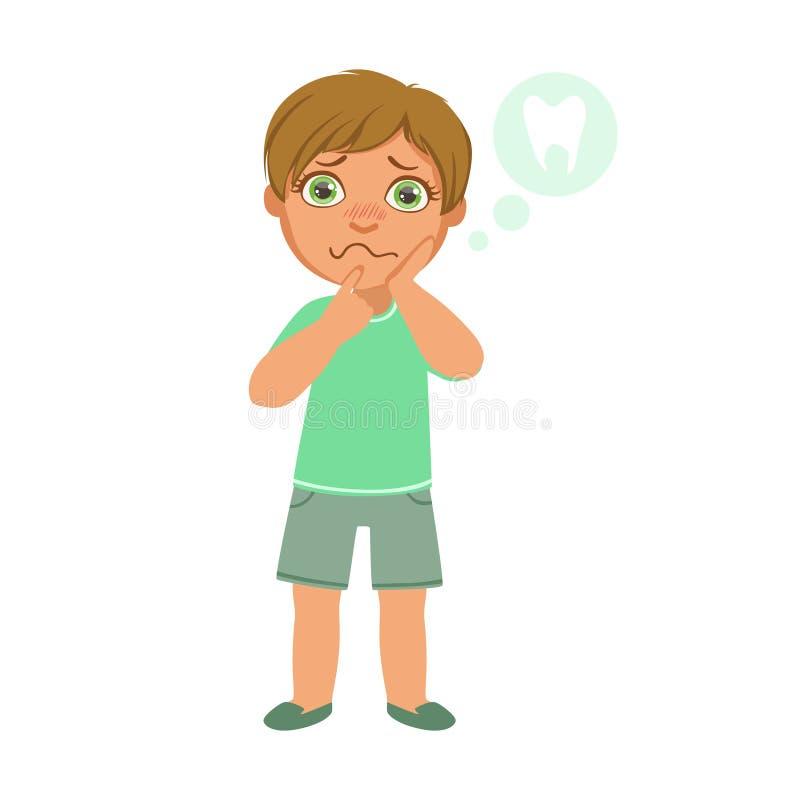 Dor do menino e de dente, criança doente que sentem indisposta devido à doença, parte das crianças e série dos problemas de saúde ilustração do vetor