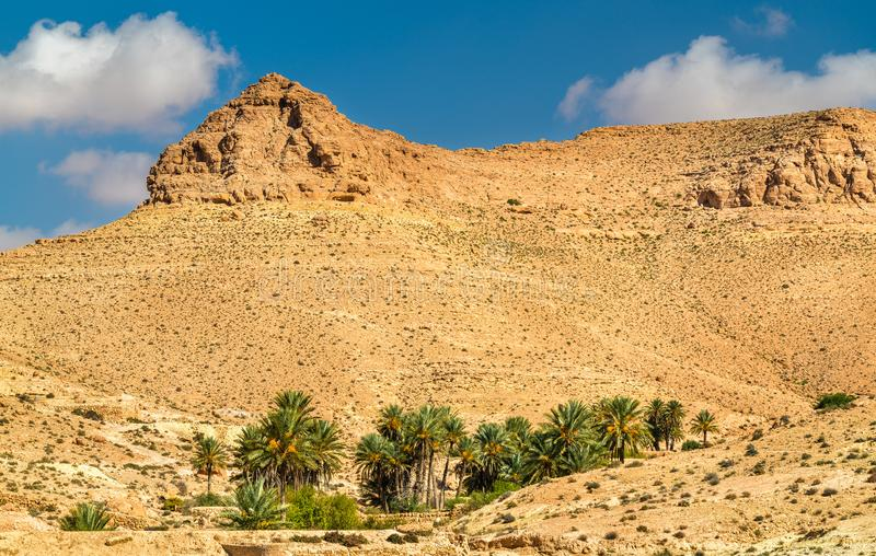 Dor landschap dichtbij Chenini in Zuid-Tunesië royalty-vrije stock foto