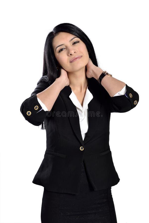 Dor nas costas da mulher fotos de stock