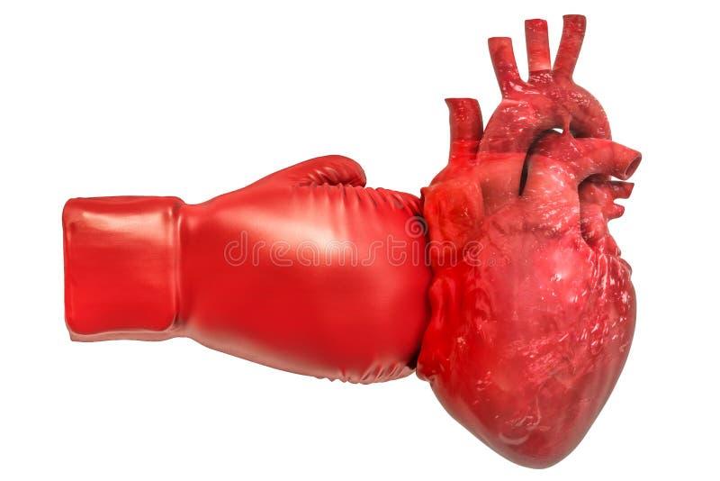 Dor no coração, conceito da doença cardíaca Coração humano com gl do encaixotamento ilustração do vetor