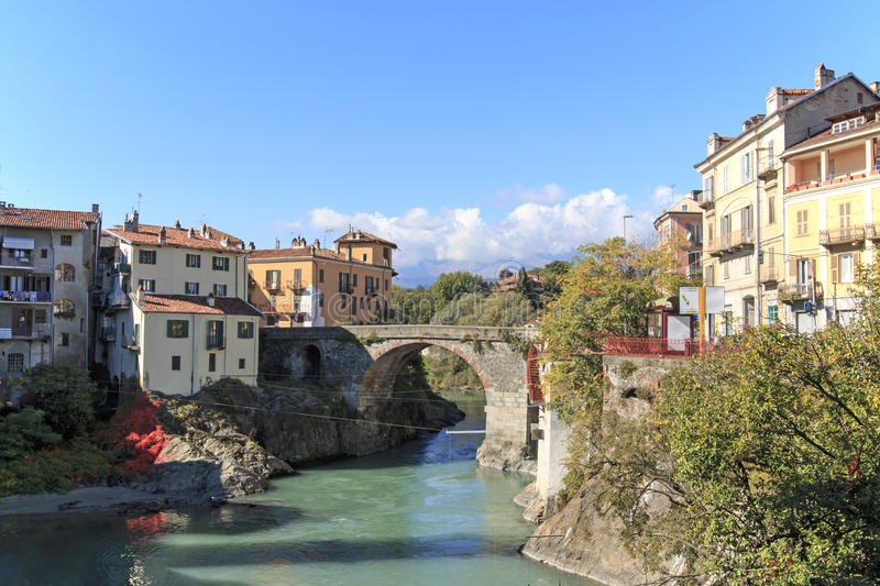 Dora Baltea River and Ivrea cityscape in Piedmont, Italy.  stock photo