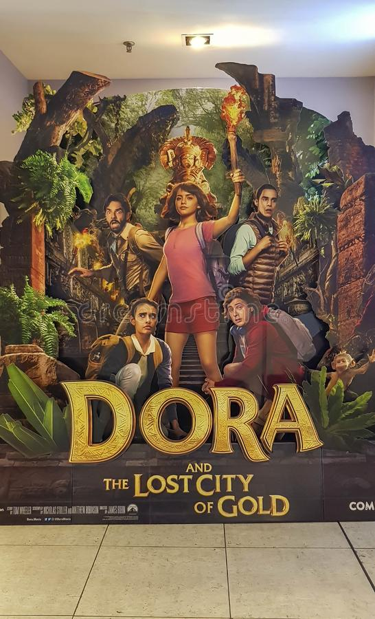 Dora and the Lost City of Gold movie poster, is an American adventure film adaptation from television series Dora the Explorer. KUALA LUMPUR, MALAYSIA - JULY 4 stock photography
