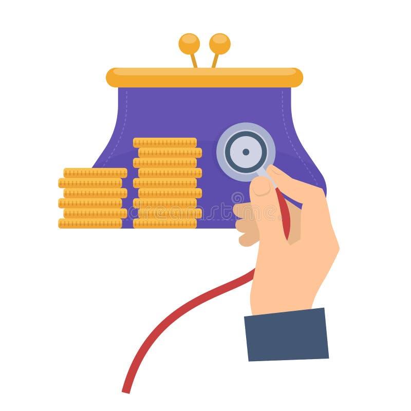 Doradca gospodarczy używa stetoskop na kiesie royalty ilustracja